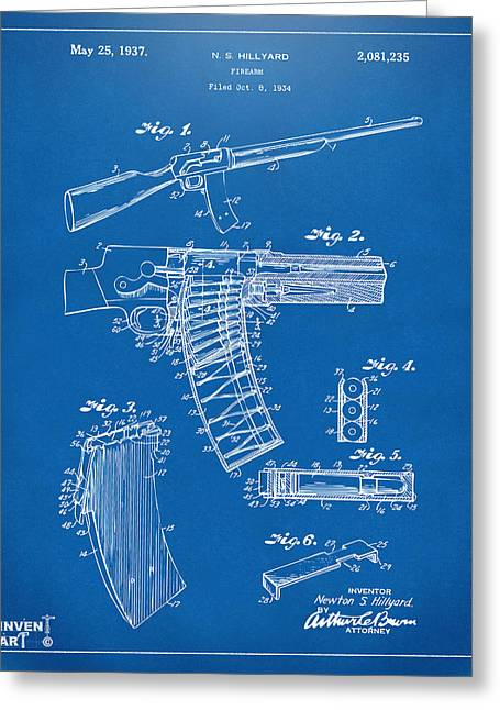 Police Greeting Cards - 1937 Police Remington Model 8 Magazine Patent Artwork - Blueprin Greeting Card by Nikki Marie Smith