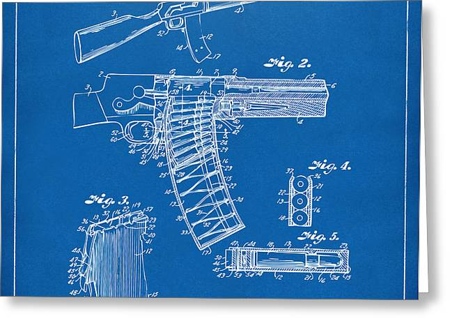 1937 Police Remington Model 8 Magazine Patent Artwork - Blueprin Greeting Card by Nikki Marie Smith