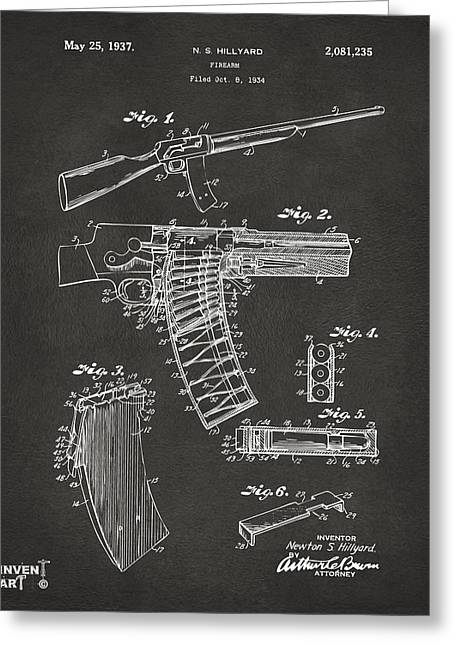 Shoot Greeting Cards - 1937 Police Remington Model 8 Magazine Patent Artwork - Gray Greeting Card by Nikki Marie Smith