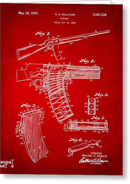 Police Greeting Cards - 1937 Police Remington Model 8 Magazine Patent Artwork - Red Greeting Card by Nikki Marie Smith