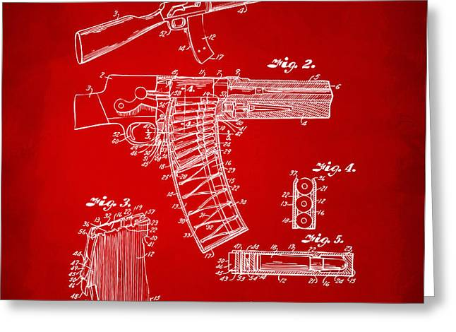 1937 Police Remington Model 8 Magazine Patent Artwork - Red Greeting Card by Nikki Marie Smith