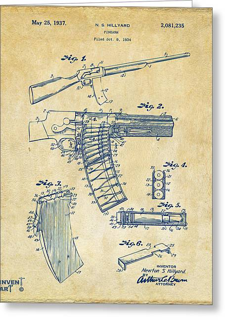 Bangs Greeting Cards - 1937 Police Remington Model 8 Magazine Patent Artwork - Vintage Greeting Card by Nikki Marie Smith