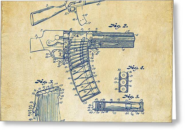 1937 Police Remington Model 8 Magazine Patent Artwork - Vintage Greeting Card by Nikki Marie Smith