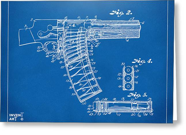 X-ray Greeting Cards - 1937 Police Remington Model 8 Magazine Patent Minimal - Blueprint Greeting Card by Nikki Marie Smith