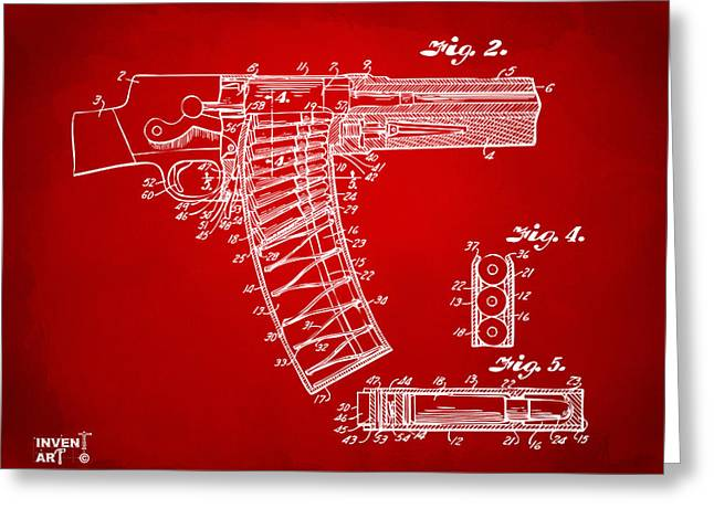 Xray Greeting Cards - 1937 Police Remington Model 8 Magazine Patent Minimal - Red Greeting Card by Nikki Marie Smith