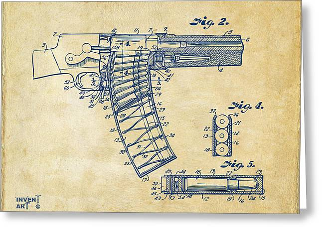 Schematic Greeting Cards - 1937 Police Remington Model 8 Magazine Patent Minimal - Vintage Greeting Card by Nikki Marie Smith