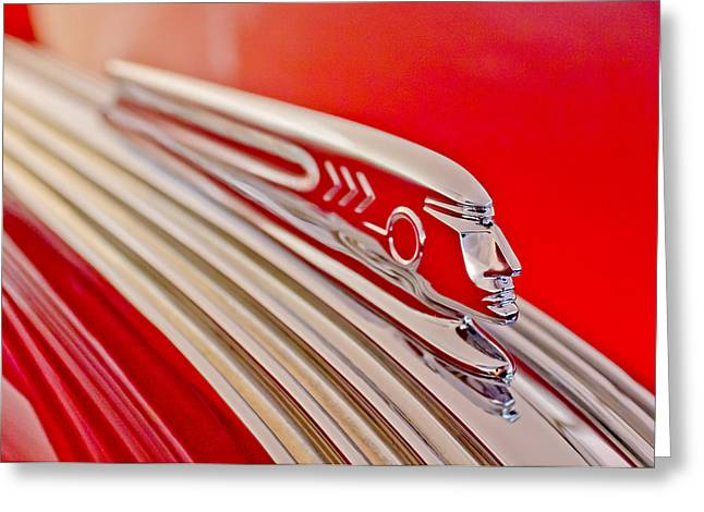 Vintage Hood Ornament Greeting Cards - 1937 Pontiac Chief Custom Hood Ornament Greeting Card by Jill Reger