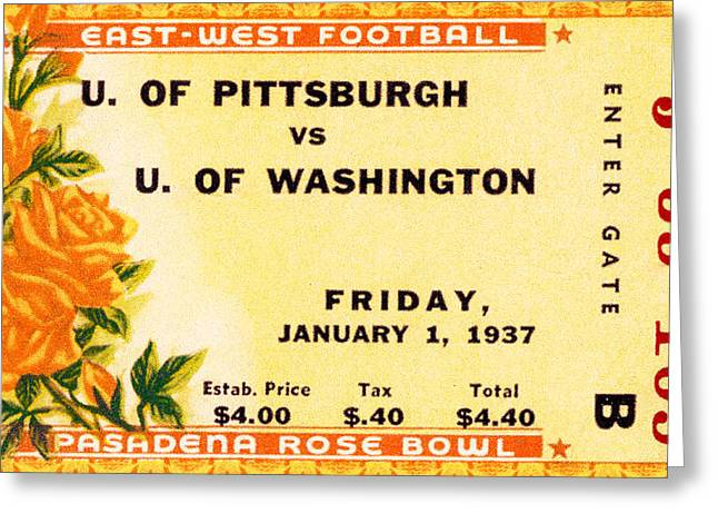 Sports Memorabilia Greeting Cards - 1937 Rose Bowl Ticket Greeting Card by David Patterson
