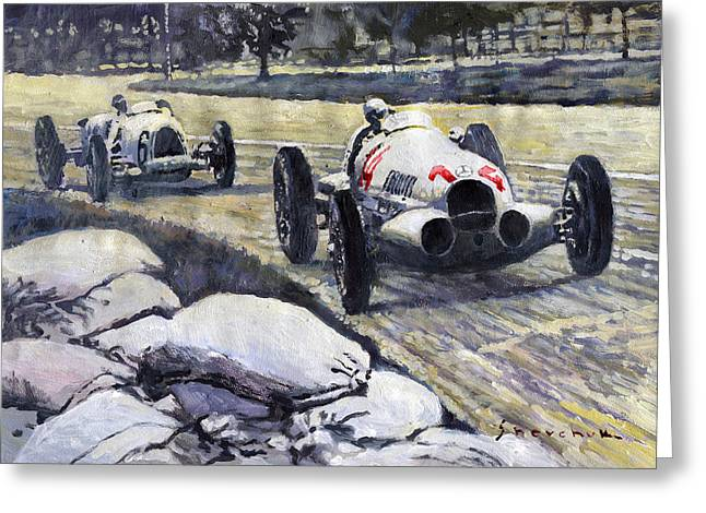 Swiss Greeting Cards - 1937 Rudolf Caracciola winning Swiss GP W 125 Greeting Card by Yuriy Shevchuk