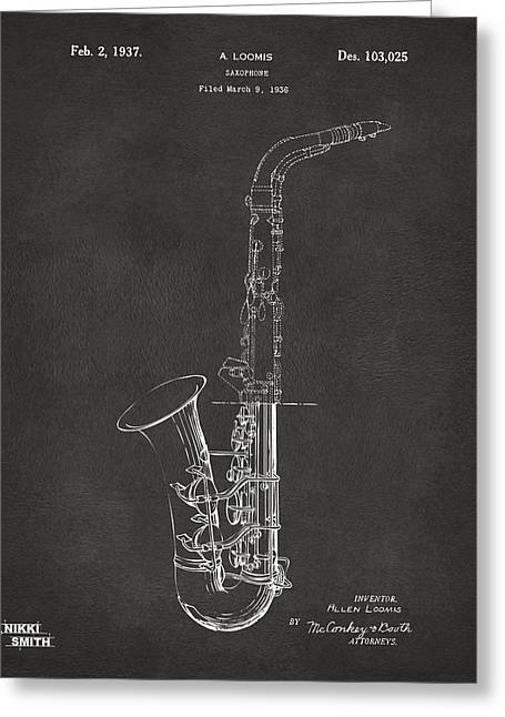 Marching Band Greeting Cards - 1937 Saxophone Patent Artwork - Gray Greeting Card by Nikki Marie Smith