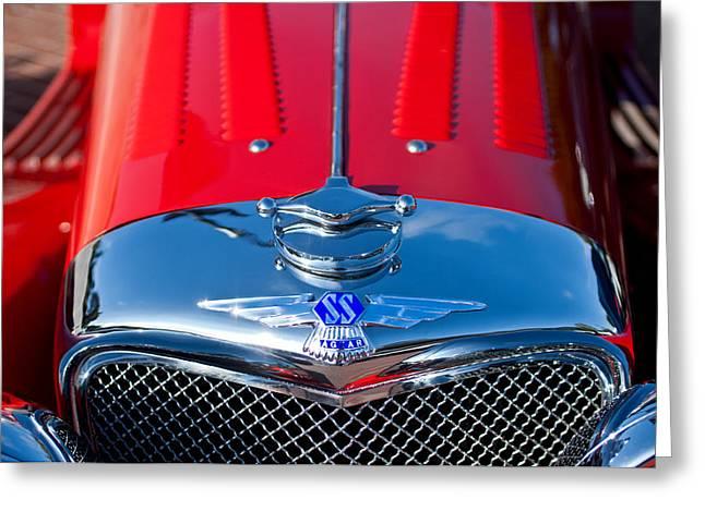 Jaguars Greeting Cards - 1937 SS100 3.5-Liter Jaguar Roadster Grille Hood Emblem Greeting Card by Jill Reger