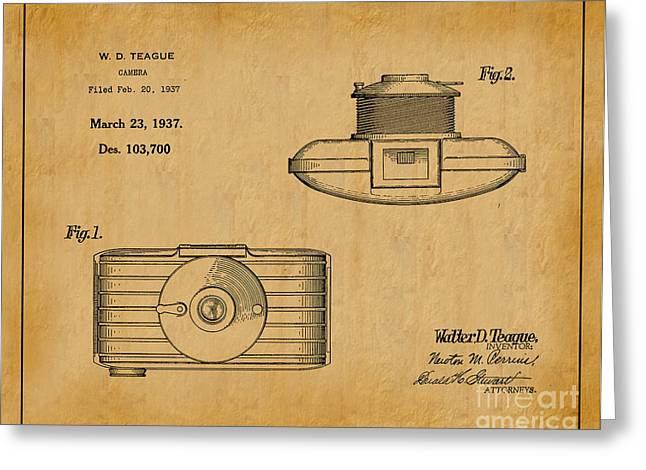1937 Walter D. Teague Camera Patent Art 1 Greeting Card by Nishanth Gopinathan