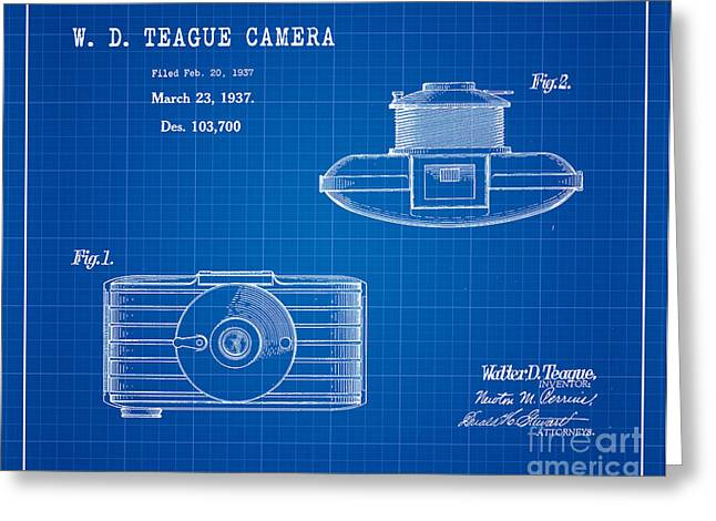 1937 Walter D. Teague Camera Patent Art 2 Greeting Card by Nishanth Gopinathan