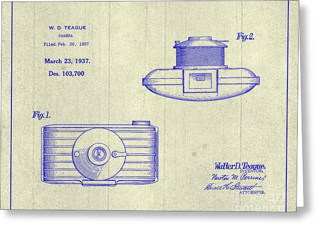 1937 Walter D. Teague Camera Patent Art 3 Greeting Card by Nishanth Gopinathan