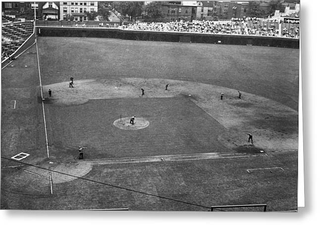Baseball Stadiums Greeting Cards - 1937 Wrigley Field Scoreboard Greeting Card by Retro Images Archive