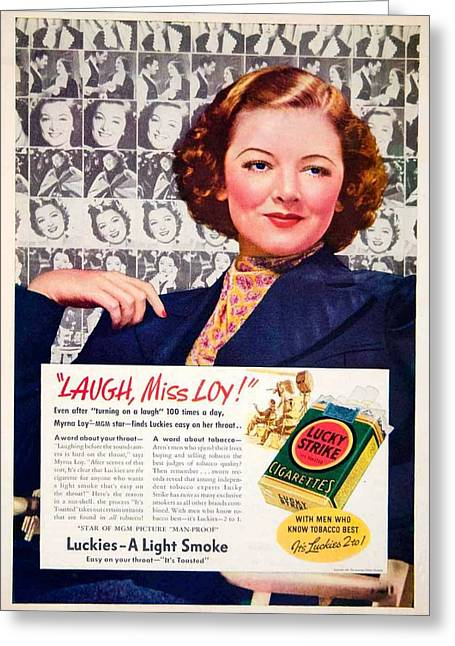1938 Movies Greeting Cards - 1938 - Lucky Strike Cigarettes Advertising - Myrna Loy - Color Greeting Card by John Madison