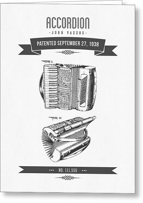 Instrument Mixed Media Greeting Cards - 1938 Accordion Patent Drawing Greeting Card by Aged Pixel