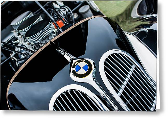Jill Reger Photography Greeting Cards - 1938 BMW 327-8 Cabriolet Grille Emblem - Engine Greeting Card by Jill Reger