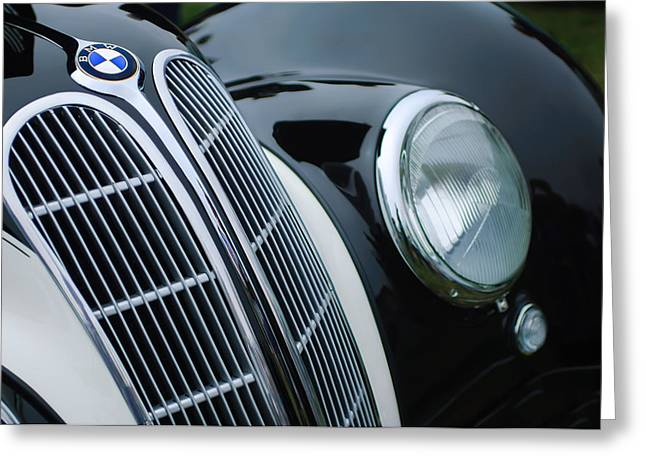1938 Greeting Cards - 1938 BMW 327-8 Cabriolet Grille Emblem Greeting Card by Jill Reger