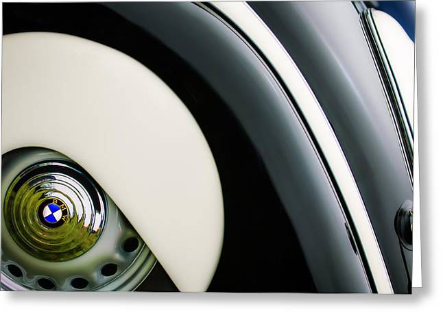 1938 Greeting Cards - 1938 BMW 327 - 8 Cabriolet Rear Wheel Emblem -2668c Greeting Card by Jill Reger