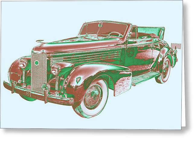 Old Automobile Greeting Cards - 1938 Cadillac Lasalle Antique Pop Art Greeting Card by Keith Webber Jr