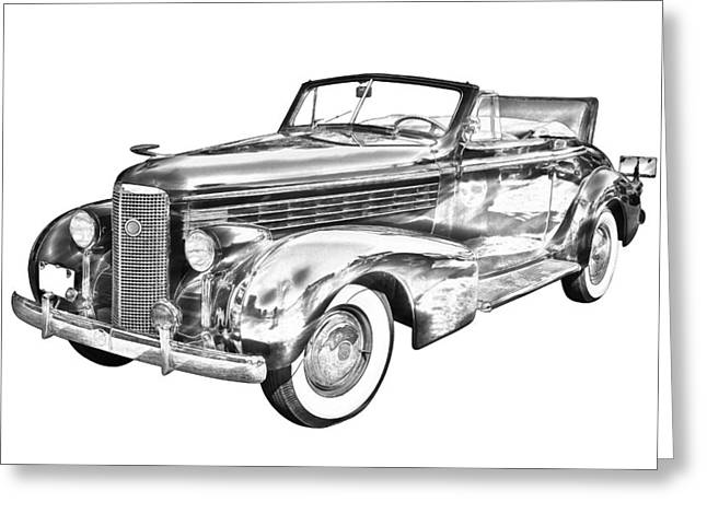 1930s Greeting Cards - 1938 Cadillac Lasalle Illustration Greeting Card by Keith Webber Jr