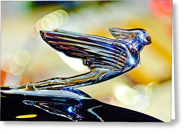 Collector Hood Ornament Greeting Cards - 1938 Cadillac V-16 Hood Ornament 2 Greeting Card by Jill Reger