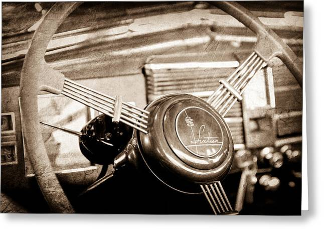 Steering Greeting Cards - 1938 Cadillac V-16 Presidential Convertible Parade Limousine Steering Wheel Emblem Greeting Card by Jill Reger