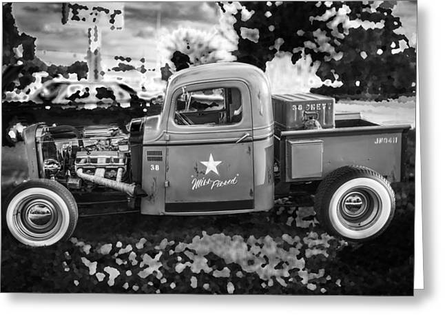 Pickup Truck Door Greeting Cards - 1938 Chevy Pick up Truck Rat Rod BW Greeting Card by Rich Franco