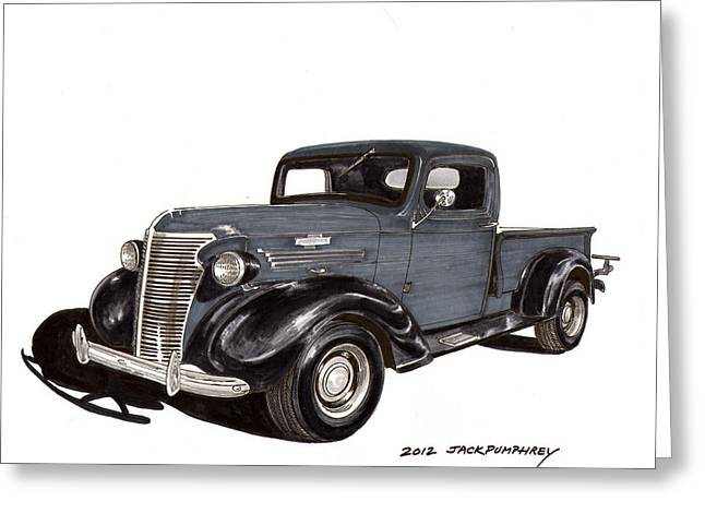 Pen And Ink Framed Prints Greeting Cards - 1938 Chevy Pickup Greeting Card by Jack Pumphrey