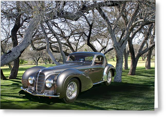 Model On Beach Greeting Cards - 1938 DeLahaye 145 Coupe at Tubac Resort Greeting Card by Jack Pumphrey
