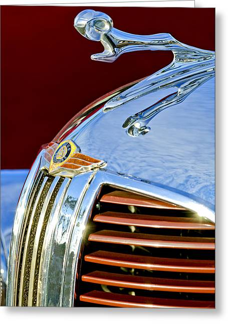 1938 Dodge Ram Hood Ornament 3 Greeting Card by Jill Reger