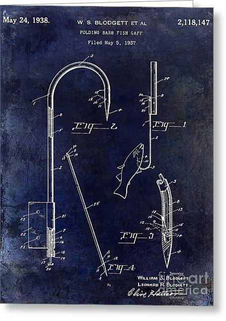 Naples Greeting Cards - 1938 Fishing Gaff Patent Drawing Blue Greeting Card by Jon Neidert