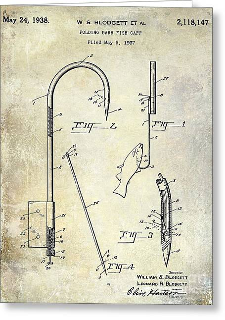Naples Greeting Cards - 1938 Fishing Gaff Patent Drawing Greeting Card by Jon Neidert