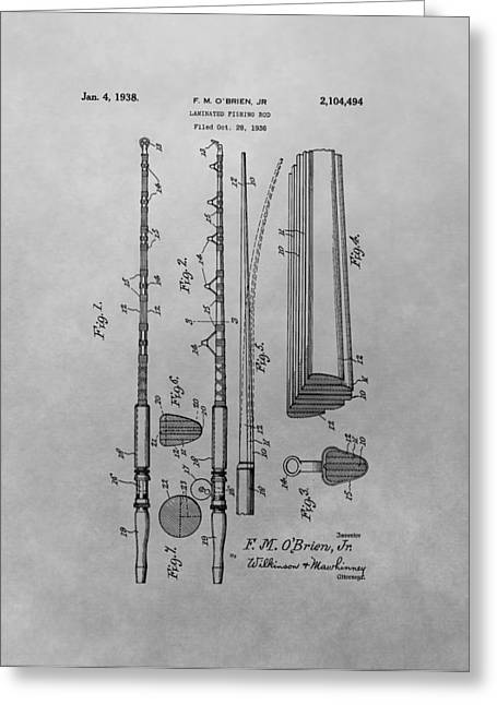 Fishing Bait Shop Greeting Cards - 1938 Fishing Rod Patent Greeting Card by Dan Sproul