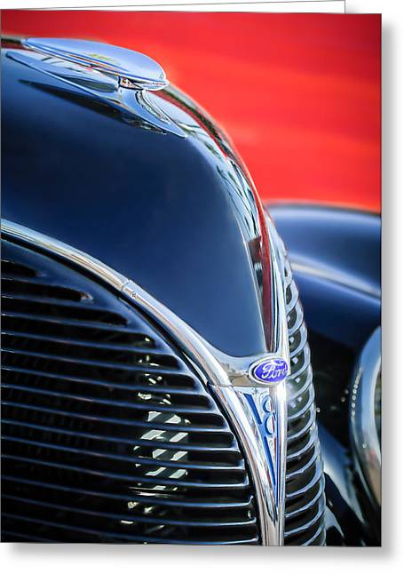 Jill Reger Photography Greeting Cards - 1938 Ford Hood Ornament - Grille Emblem -0089c Greeting Card by Jill Reger