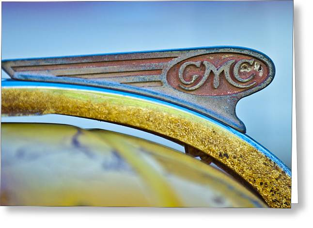 Vintage Hood Ornaments Greeting Cards - 1938 GMC Hood Ornament Greeting Card by Jill Reger