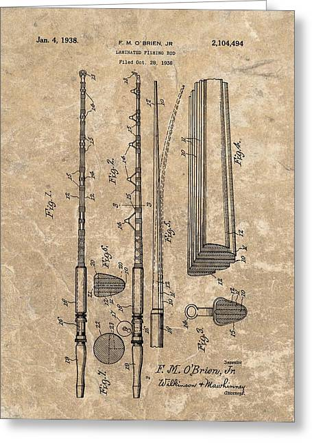Fishing Bait Shop Greeting Cards - 1938 Laminated Fishing Rod Patent Greeting Card by Dan Sproul