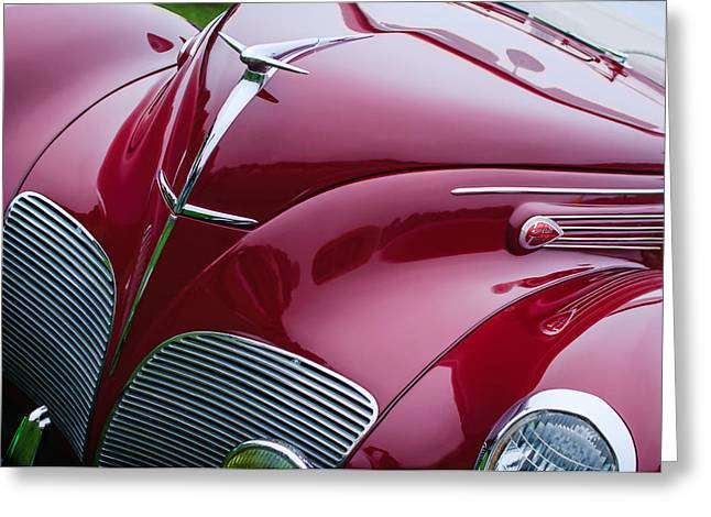 1938 Greeting Cards - 1938 Lincoln-Zephyr Convertible Coupe Grille - Hood Ornament - Emblem Greeting Card by Jill Reger