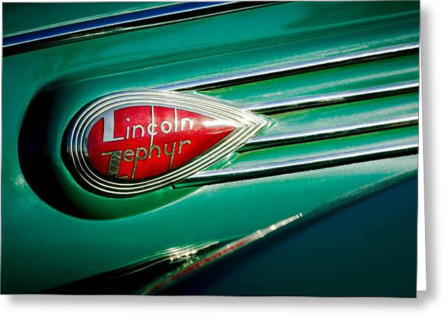 1938 Greeting Cards - 1938 Lincoln Zephyr Emblem Greeting Card by Jill Reger