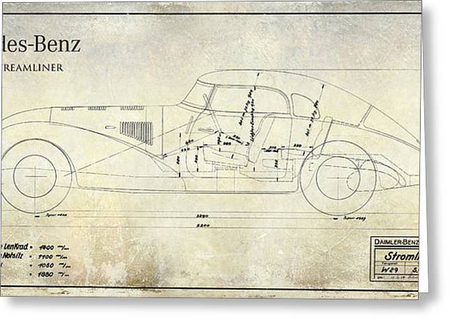 1938 Greeting Cards - 1938 Mercedes-Benz 540 K Streamliner Blueprint A Greeting Card by Jon Neidert