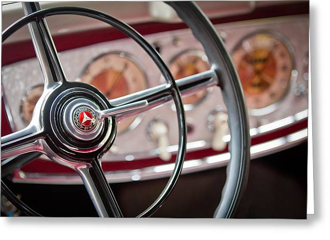 Steering Greeting Cards - 1938 Mercedes-Benz 540K Sports Tourer Steering Wheel Greeting Card by Jill Reger