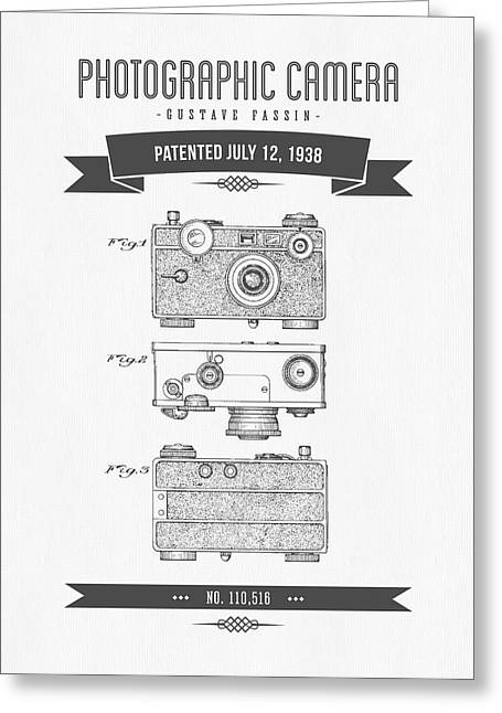 Camera Greeting Cards - 1938 Photographic Camera Patent Drawing - Retro Gray Greeting Card by Aged Pixel