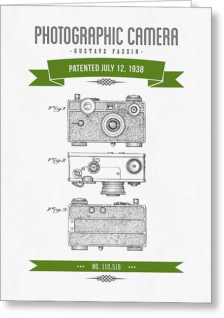 Camera Greeting Cards - 1938 Photographic Camera Patent Drawing - Retro Green Greeting Card by Aged Pixel