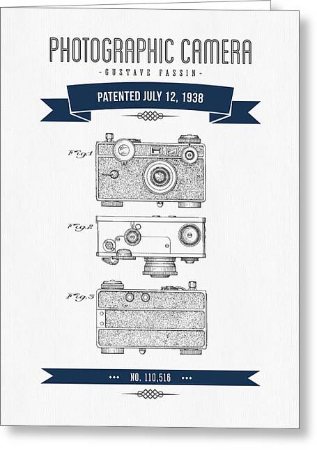 Old Camera Greeting Cards - 1938 Photographic Camera Patent Drawing - Retro Navy Blue Greeting Card by Aged Pixel