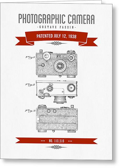 Camera Greeting Cards - 1938 Photographic Camera Patent Drawing - Retro Red Greeting Card by Aged Pixel