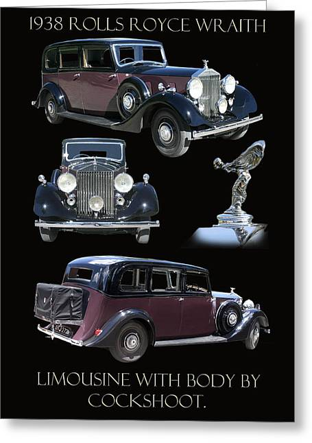 A. Paré Greeting Cards - 1938 Rolls Royce Limousine Greeting Card by Jack Pumphrey