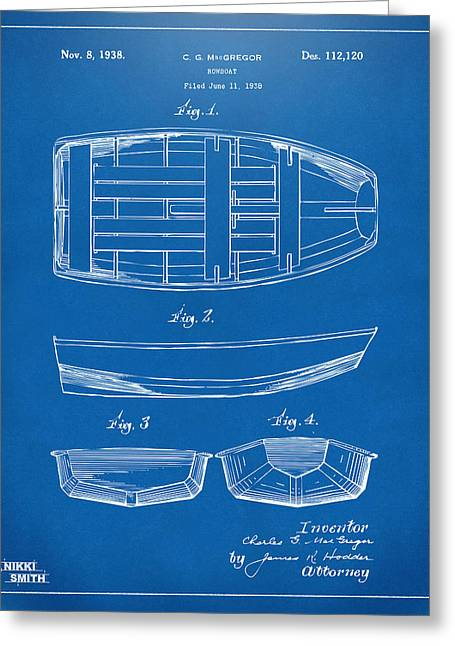 Navy Cross Greeting Cards - 1938 Rowboat Patent Artwork - Blueprint Greeting Card by Nikki Marie Smith
