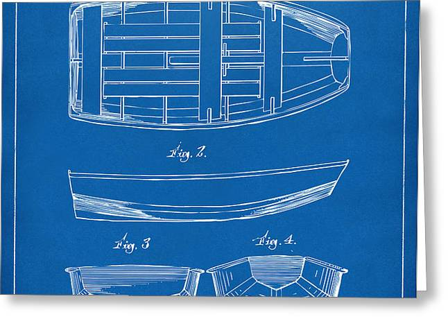 1938 Rowboat Patent Artwork - Blueprint Greeting Card by Nikki Marie Smith