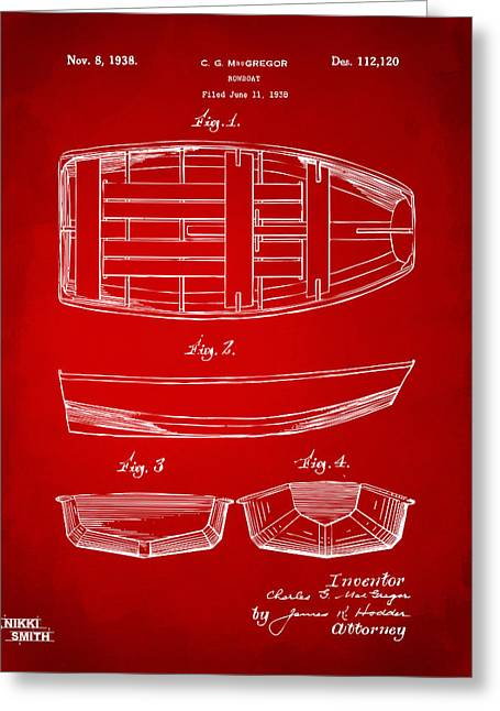 Navy Cross Greeting Cards - 1938 Rowboat Patent Artwork - Red Greeting Card by Nikki Marie Smith